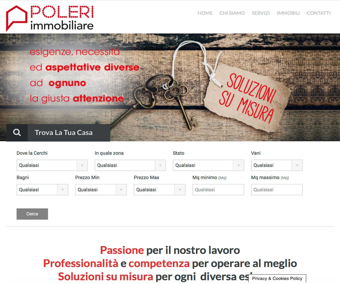 Tre Art web agency progetto Poleri immobiliare